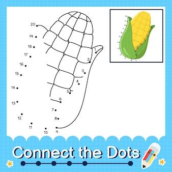 Maïs kinderpuzzel verbind de stippen werkblad voor kinderen die de nummers 1 tot en met 20 tellen