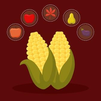 Maïskolf voor thanksgiving day met pictogramreeks