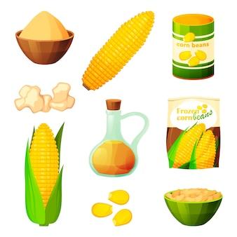 Maïsvoedsel en plantaardige producten van maïskolf