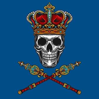 Majestueuze koning van schedel vector