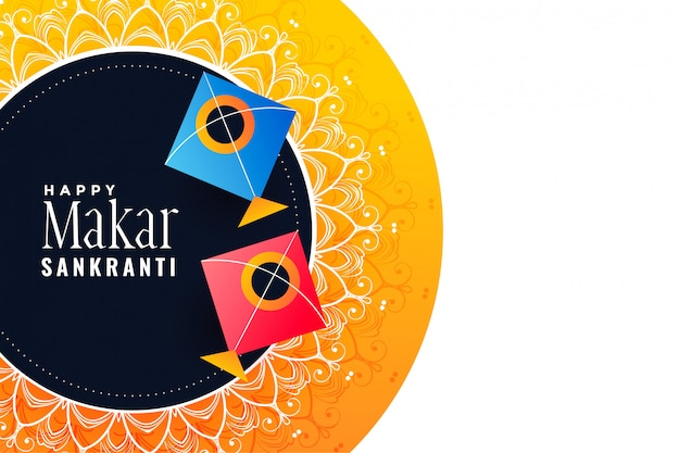 Makar sankranti festival banner met kleurrijke vliegers