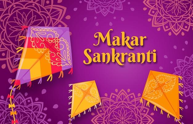 Makar sankranti-festival. happy indian sun celebration day poster met vliegende vliegers. sankrant oogst wenskaart of banner vector concept. hindoeïsme religie, traditie en cultuur Premium Vector