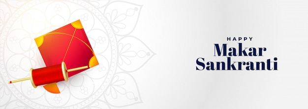 Makar sankranti-festivalbanner met vlieger en koordspoel