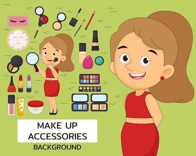 Make-up accessoires concept achtergrond. platte pictogrammen.