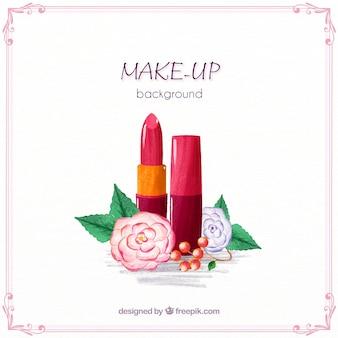 Make-up achtergrond met aquarel lippenstift