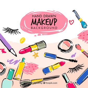 Make-up achtergrond met hand getrokken stijl