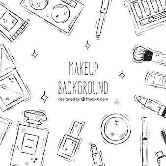 Make-up achtergrond met schetsmatige stijl