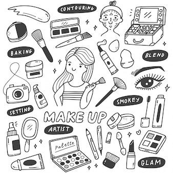 Make-up artiest apparatuur in doodle stijl