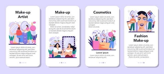 Make-up artiest mobiele applicatie banner set. professionele kunstenaar die een schoonheidsprocedure doet, cosmetica op het gezicht aanbrengt. visagiste doet make-up aan een model met een borstel. platte vectorillustratie