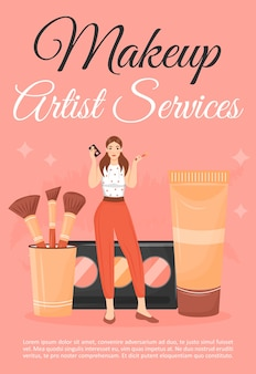 Make-up artiest service poster platte sjabloon. vrouw met schoonheidssalon cosmetica. brochure, boekje conceptontwerp van één pagina met stripfiguren. make-up cursussen flyer, folder