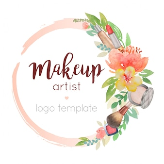 Make-up artist watercolour logo sjabloon met bloem decor