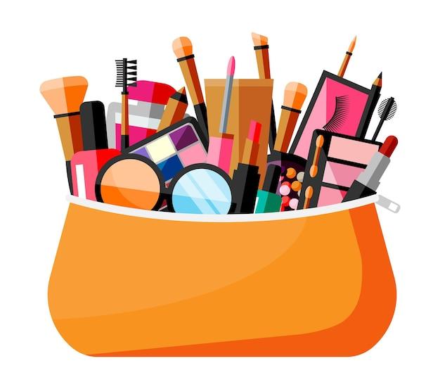 Make-up collectie in tas. set van decoratieve cosmetica. make-up winkel. diverse penselen, parfum, mascara, glans, poeder, lippenstift en blush. schoonheid en mode. cartoon platte vectorillustratie Premium Vector