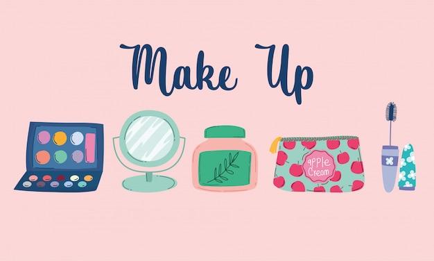 Make-up cosmetica product mode schoonheid crème lotion spiegel mascara en tas vectorillustratie