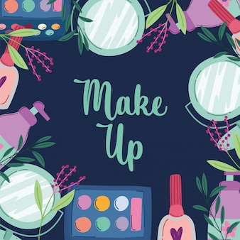 Make-up cosmetica product mode schoonheid glamour donkere vectorillustratie