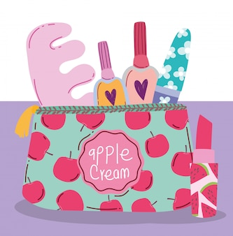 Make-up cosmetica product mode schoonheid manicure en pedicure tas en lippenstift illustratie