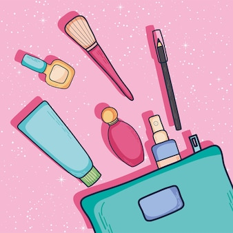 Make-up cosmetische pictogrammen en tas