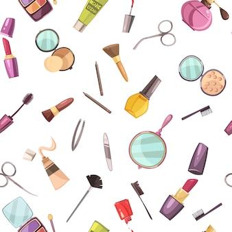 Make-up cosmetische schoonheid zaak accessoires platte naadloze patroon