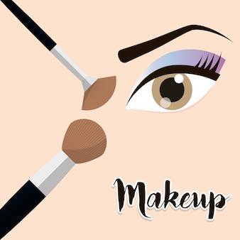 Make-up oog meisje borstel ontwerp