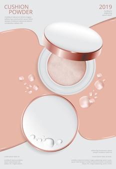 Make-up poeder kussen poster sjabloon vectorillustratie