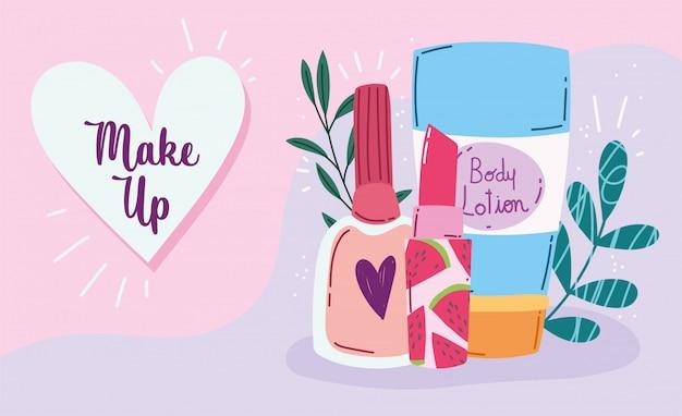 Make-up product mode schoonheid bodylotion nagellak en lippenstift producten vector illustratie