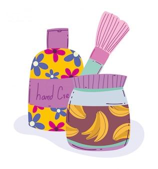 Make-up product mode schoonheid borstel bodylotion huidverzorging crème producten vector illustratie
