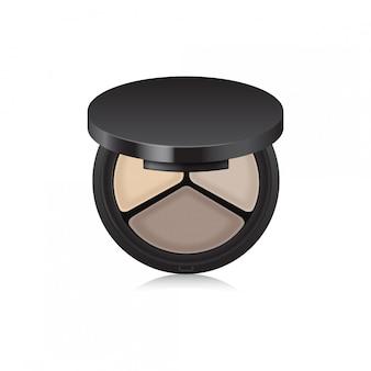 Make-up schaduw, bronzer, corrector in zwarte etui. geopende doos die op witte achtergrond wordt geïsoleerd.