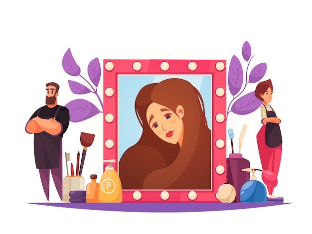 Make-up schoonheidsspecialiste illustratie