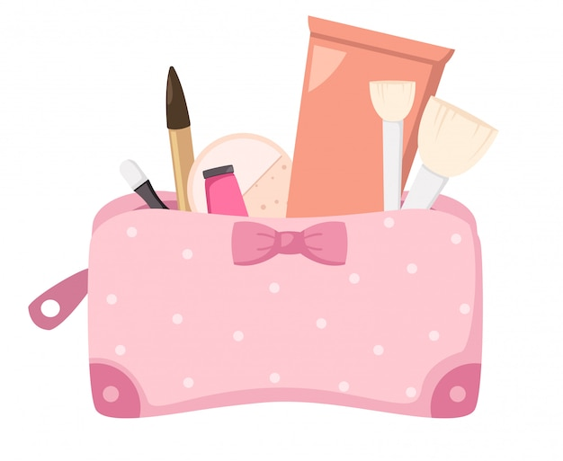 Make-up tas met cosmetica, illustratie