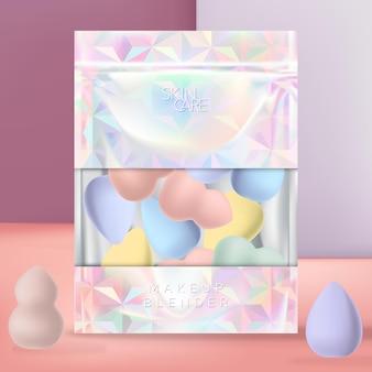 Make-upblender of spons met holografische of iriserende zak met ritssluiting. geometrische patroonafdruk.