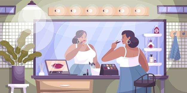 Make-uplessen online platte compositie met binnenlandschap met laptop en vrouwelijk personage dat lippenstift opdoet