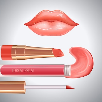 Make-upset voor lippen met realistische creme-uitstrijkjes, realistische glanzende glanzende lippen en vloeibare lippenstift