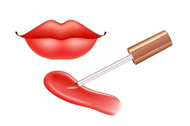 Make-upset voor lippen met realistische creme-uitstrijkjes realistische vloeibare lippenstift en lippen
