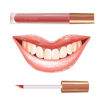 Make-upset voor lippen met realistische glanzende glanzende lachende lippen en vloeibare lippenstift