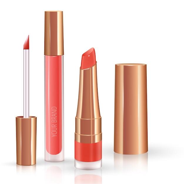 Make-upset voor lippen met realistische vloeibare lippenstift