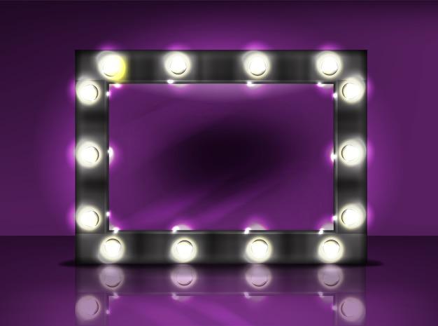 Make-upspiegel met lampenbolillustratie van retro zwart kader met realistisch licht