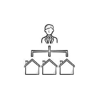 Makelaar hand getrokken schets doodle pictogram. agent verbonden met huisvestingsweb als modern makelaarsnetwerkconcept. schets vectorillustratie voor print, web, mobiel en infographics.