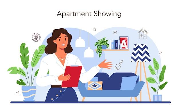 Makelaar in de onroerendgoedsector die een huis of appartement presenteert