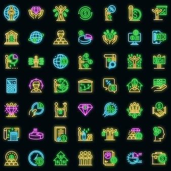 Makelaar pictogrammen instellen. overzicht set van makelaar vector iconen neon kleur op zwart