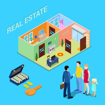 Makelaardij. makelaar makelaar die appartement verkoopt aan jong gezin. isometrische mensen. vector illustratie