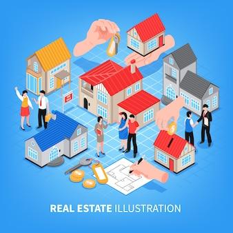 Makelaarskantoor het bekijken van huizen te koop en huur isometrische vectorillustratie