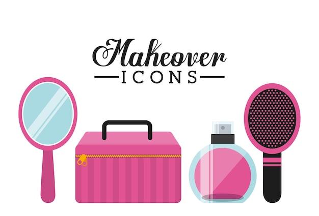 Makeover vrouwelijk ontwerp, vector grafische illustratie eps10