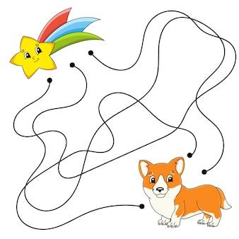 Makkelijk doolhof. labyrint voor kinderen. activiteit werkblad. puzzel voor kinderen. stripfiguur.