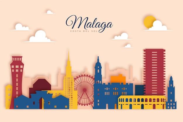 Málaga skyline in papierstijl