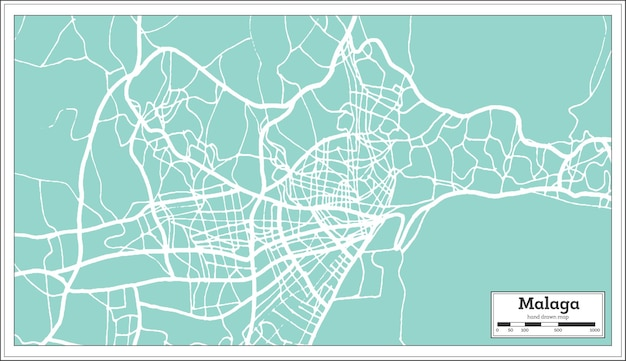 Malaga spanje stadsplattegrond in retro stijl