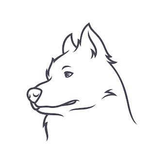 Malamute-hond van alaska - vectorembleem / pictogramillustratiemascotte