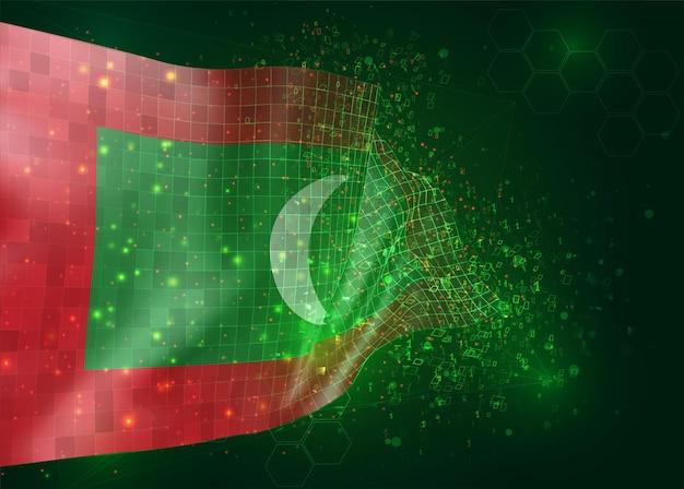 Maldiven, op vector 3d vlag op groene achtergrond met veelhoeken en gegevensnummers