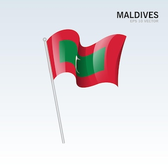 Maldiven wapperende vlag geïsoleerd op grijs