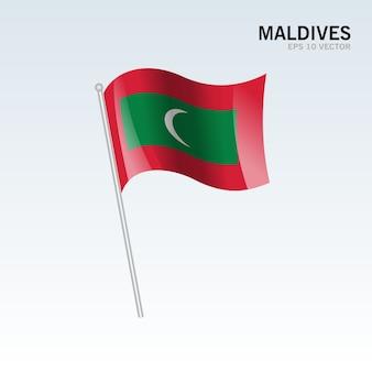Maldiven wuivende vlag geïsoleerd op een grijze achtergrond