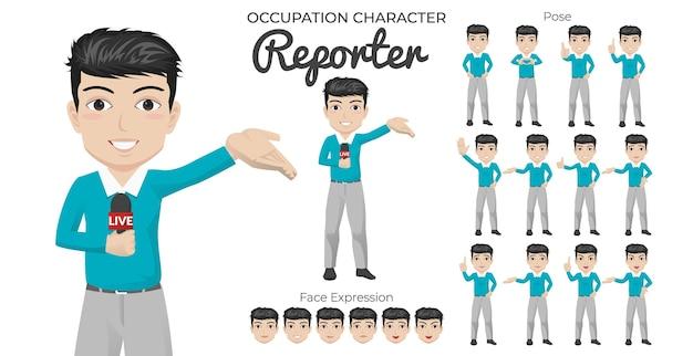 Male reporter character set met een verscheidenheid aan pose en gezichtsuitdrukking