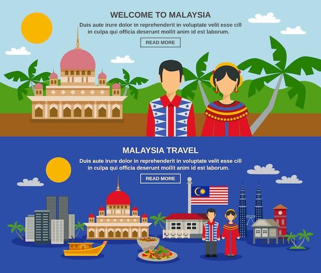 Maleisië cultuur 2 flat banners webpagina ontwerp